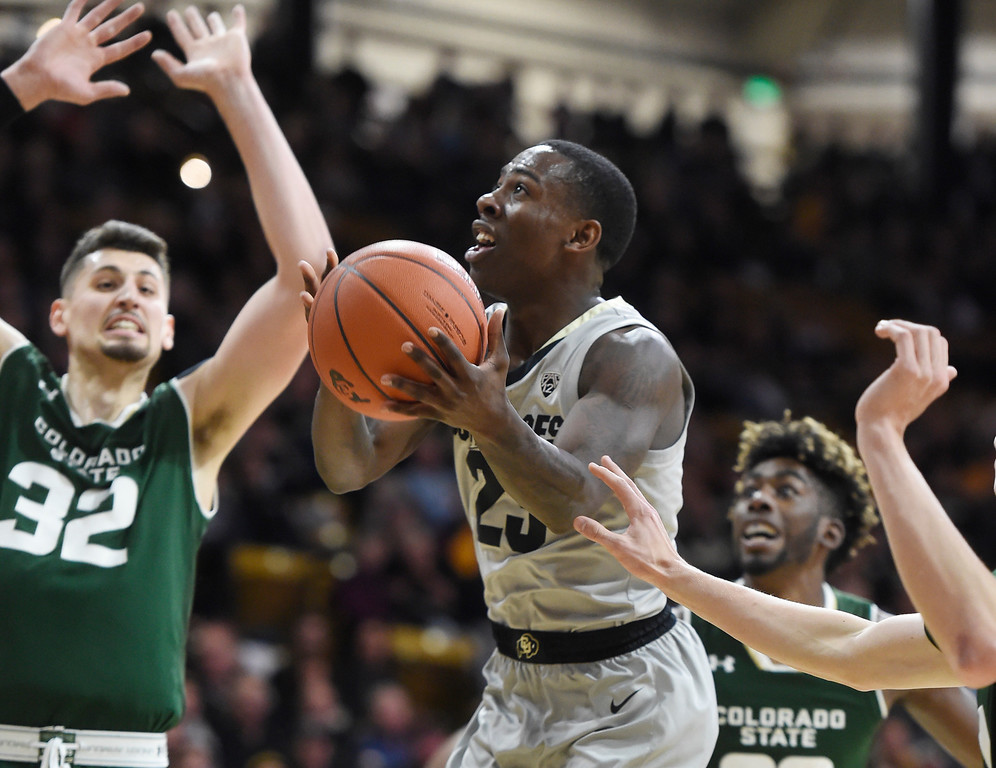 . BOULDER, CO: December 1:  McKinley Wright IV, of CU, drives past Nico Carvacho, of CSU, during the Colorado and Colorado State men\'s basketball game. (Photo by Cliff Grassmick/Staff Photographer)