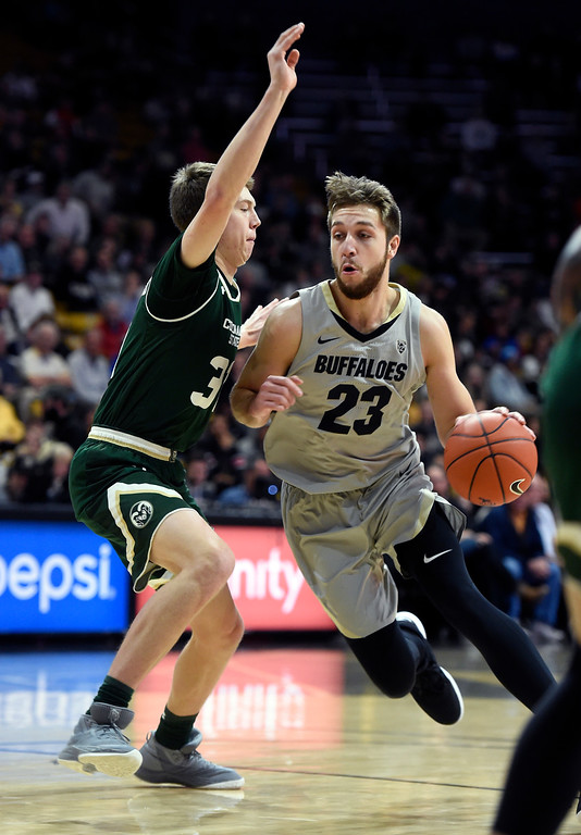 . BOULDER, CO: December 1:  Lucas Siewert, of CU, drives on Adam Thistlewood, of CSU, during the Colorado and Colorado State men\'s basketball game. (Photo by Cliff Grassmick/Staff Photographer)