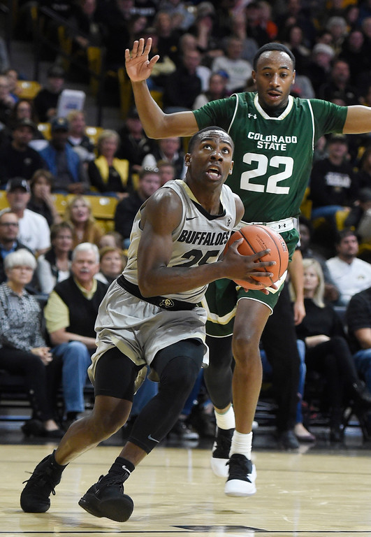 . BOULDER, CO: December 1: McKinley Wright IV, of CU, drives to the basket against JD paige, of CSU, during the Colorado and Colorado State men\'s basketball game. (Photo by Cliff Grassmick/Staff Photographer)