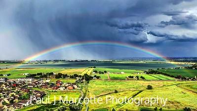 Rainbow over Longmonts Union reservoir
