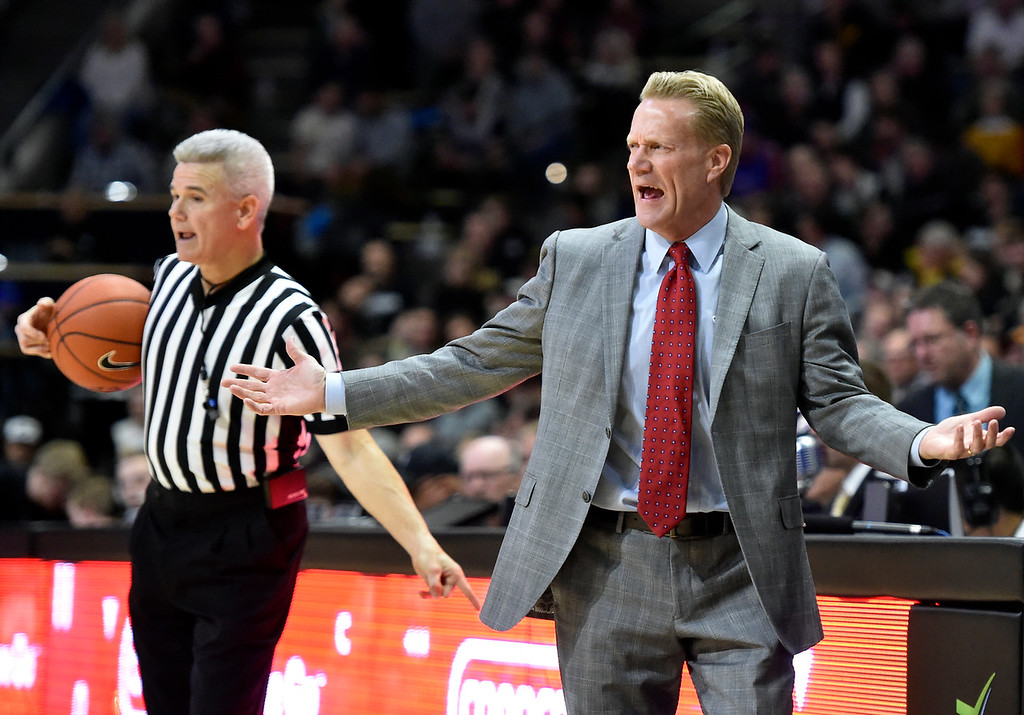. BOULDER, CO - DECEMBER 4, 2018: University of South Dakota Head Coach Todd Lee yells to his team during a NCAA game against the University of Colorado on Tuesday at the Coors Event Center on the CU campus in Boulder. More photos: Buffzone.com (Photo by Jeremy Papasso/Staff Photographer)