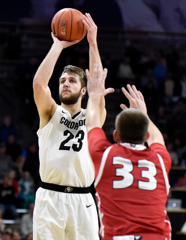. BOULDER, CO - DECEMBER 4, 2018: University of Colorado\'s Lucas Siewert takes a shot over Logan Power during a NCAA game against the University of South Dakota on Tuesday at the Coors Event Center on the CU campus in Boulder. More photos: Buffzone.com (Photo by Jeremy Papasso/Staff Photographer)