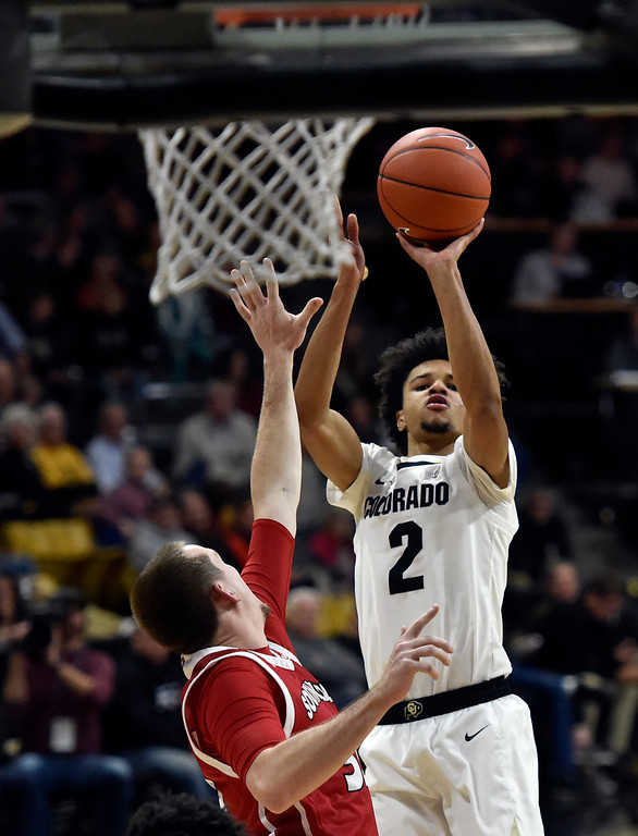 . BOULDER, CO - DECEMBER 4, 2018: University of Colorado\'s Daylen Kountz takes a shot during a NCAA game against the University of South Dakota on Tuesday at the Coors Event Center on the CU campus in Boulder. More photos: Buffzone.com (Photo by Jeremy Papasso/Staff Photographer)