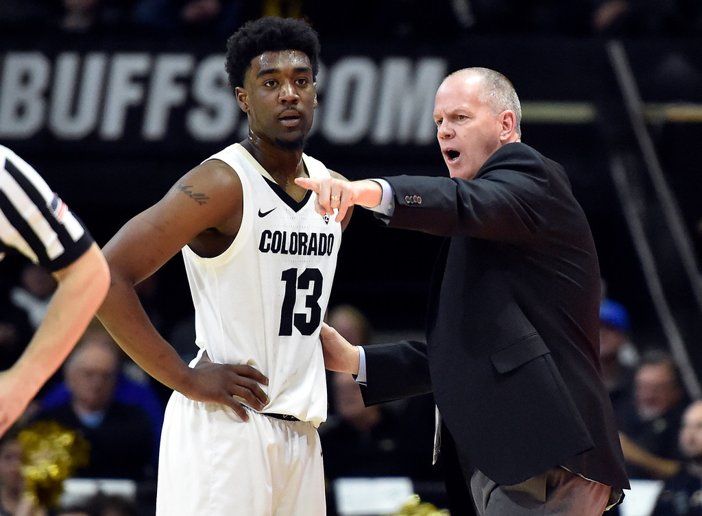 . BOULDER, CO - DECEMBER 4, 2018: University of Colorado Head Coach Tad Boyle talks with Namon Wright during a NCAA game against the University of South Dakota on Tuesday at the Coors Event Center on the CU campus in Boulder. More photos: Buffzone.com (Photo by Jeremy Papasso/Staff Photographer)