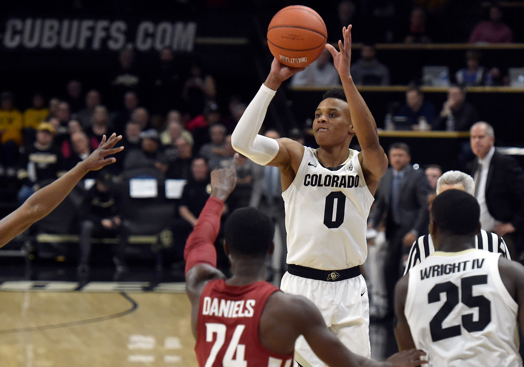 . BOULDER, CO - JANUARY 10, 2019: University of Colorado\'s Shane Gatling takes a shot during a NCAA Pac 12 basketball game against Washington State  on Thursday at the Coors Event Center on the CU campus in Boulder. More photos: Buffzone.com (Photo by Jeremy Papasso/Staff Photographer)