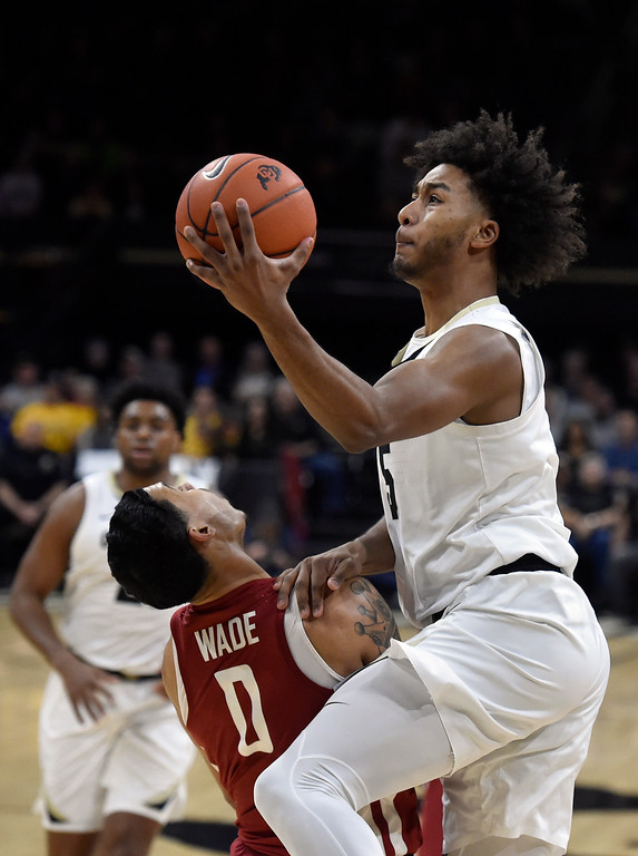 . BOULDER, CO - JANUARY 10, 2019: University of Colorado\'s D\'Shawn Schwartz drives to the hoop over Isaiah Wade during a NCAA Pac 12 basketball game against Washington State  on Thursday at the Coors Event Center on the CU campus in Boulder. More photos: Buffzone.com (Photo by Jeremy Papasso/Staff Photographer)