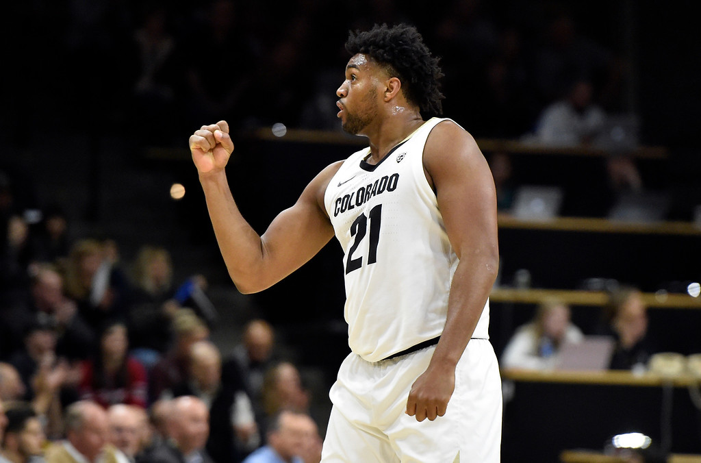 . BOULDER, CO - JANUARY 10, 2019: University of Colorado\'s Evan Battey celebrates a CU basket in the second half during a NCAA Pac 12 basketball game against Washington State  on Thursday at the Coors Event Center on the CU campus in Boulder. More photos: Buffzone.com (Photo by Jeremy Papasso/Staff Photographer)