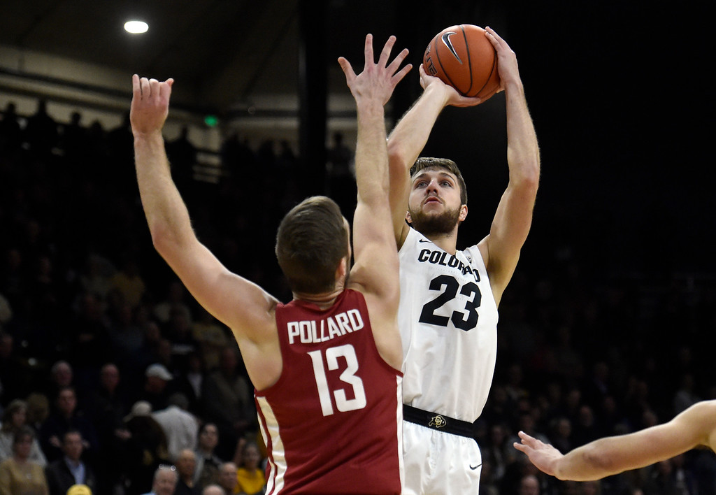 . BOULDER, CO - JANUARY 10, 2019: University of Colorado\'s Lucas Siewert takes a shot over Jeff Pollard during a NCAA Pac 12 basketball game against Washington State  on Thursday at the Coors Event Center on the CU campus in Boulder. More photos: Buffzone.com (Photo by Jeremy Papasso/Staff Photographer)