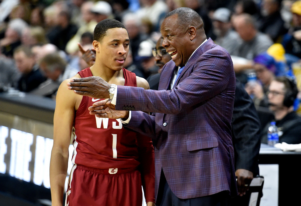 . BOULDER, CO - JANUARY 10, 2019: Washington State Head Coach Ernie Kent talks with Jervae Robinson  during a NCAA Pac 12 basketball game against Colorado on Thursday at the Coors Event Center on the CU campus in Boulder. More photos: Buffzone.com (Photo by Jeremy Papasso/Staff Photographer)