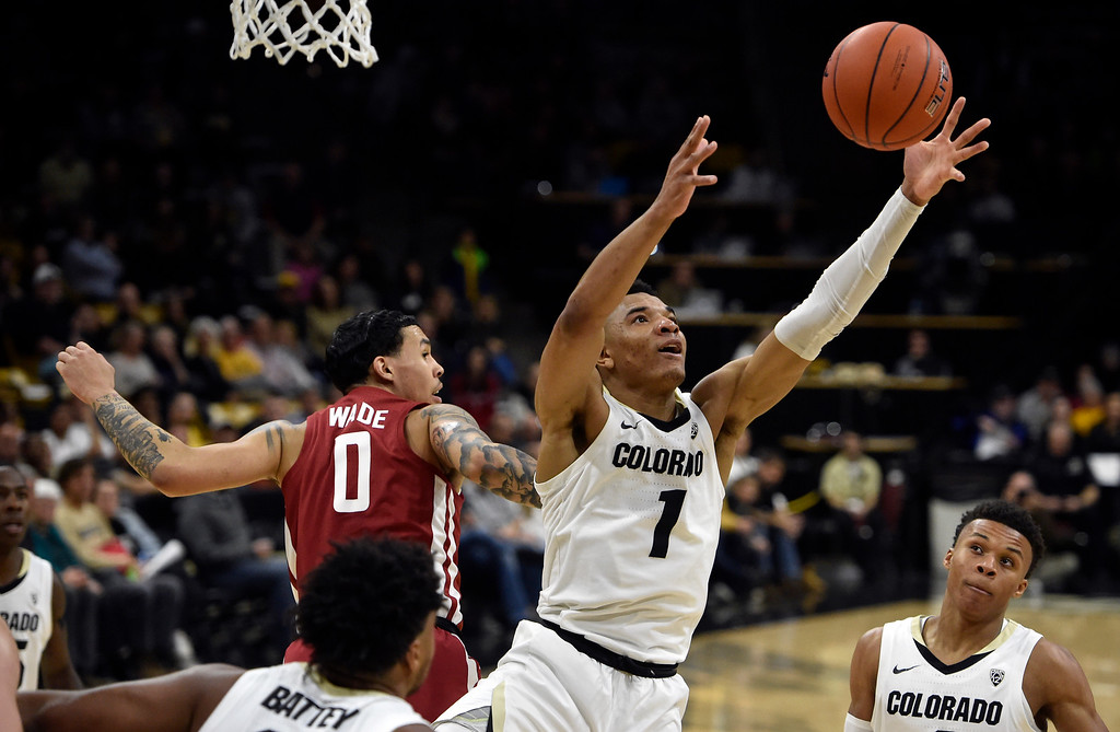 . BOULDER, CO - JANUARY 10, 2019: University of Colorado\'s Tyler Bey snags a rebound during a NCAA Pac 12 basketball game against Washington State  on Thursday at the Coors Event Center on the CU campus in Boulder. More photos: Buffzone.com (Photo by Jeremy Papasso/Staff Photographer)