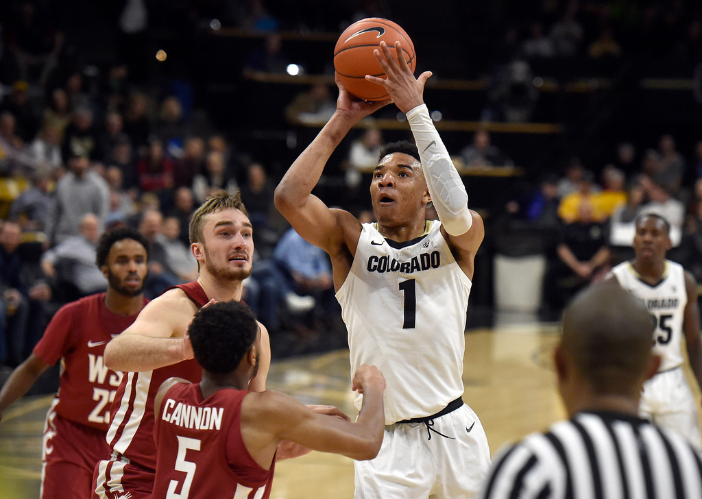. BOULDER, CO - JANUARY 10, 2019: University of Colorado\'s Tyler Bey takes a shot over defenders during a NCAA Pac 12 basketball game against Washington State  on Thursday at the Coors Event Center on the CU campus in Boulder. More photos: Buffzone.com (Photo by Jeremy Papasso/Staff Photographer)