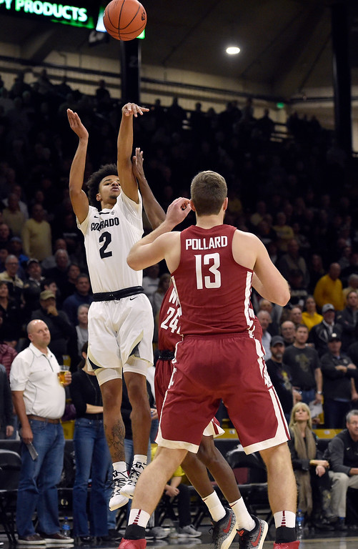 . BOULDER, CO - JANUARY 10, 2019: University of Colorado\'s Daylen Kountz takes a shot over Jeff Pollard during a NCAA Pac 12 basketball game against Washington State  on Thursday at the Coors Event Center on the CU campus in Boulder. More photos: Buffzone.com (Photo by Jeremy Papasso/Staff Photographer)