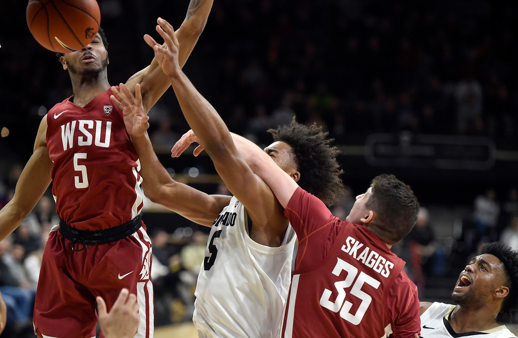 . BOULDER, CO - JANUARY 10, 2019: University of Colorado\'s D\'Shawn Schwartz is fouled by Carter Skaggs during a NCAA Pac 12 basketball game against Washington State  on Thursday at the Coors Event Center on the CU campus in Boulder. More photos: Buffzone.com (Photo by Jeremy Papasso/Staff Photographer)