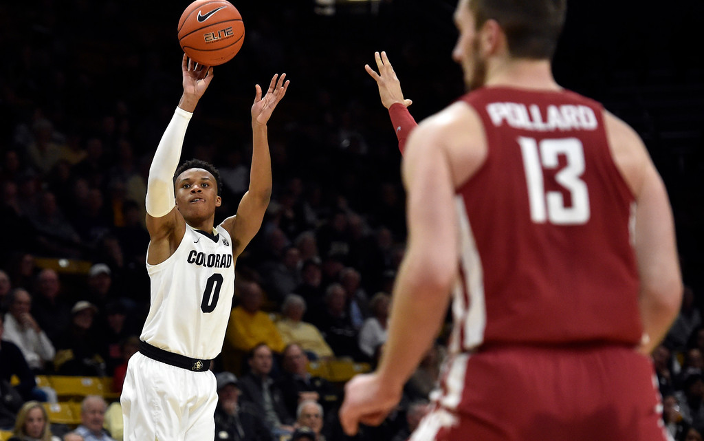 . BOULDER, CO - JANUARY 10, 2019: University of Colorado\'s during a NCAA Pac 12 basketball game against Washington State  on Thursday at the Coors Event Center on the CU campus in Boulder. More photos: Buffzone.com (Photo by Jeremy Papasso/Staff Photographer)