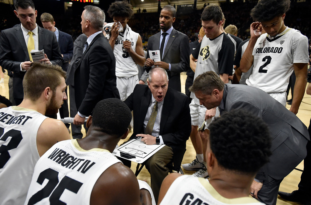 . BOULDER, CO - JANUARY 10, 2019: University of Colorado Head Coach Tad Boyle talks with his team in a time out during a NCAA Pac 12 basketball game against Washington State  on Thursday at the Coors Event Center on the CU campus in Boulder. More photos: Buffzone.com (Photo by Jeremy Papasso/Staff Photographer)