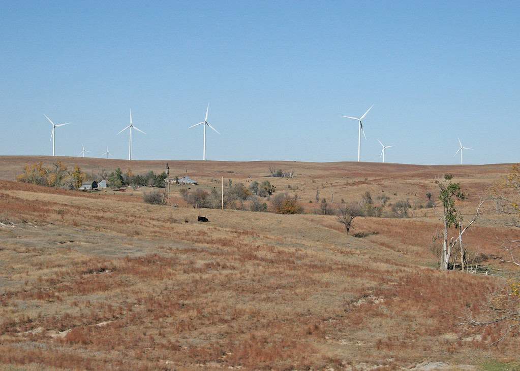 Windmills about 25 miles west of Salina, Kansas