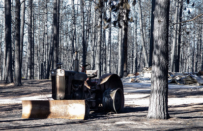 Old tractor burnt out.