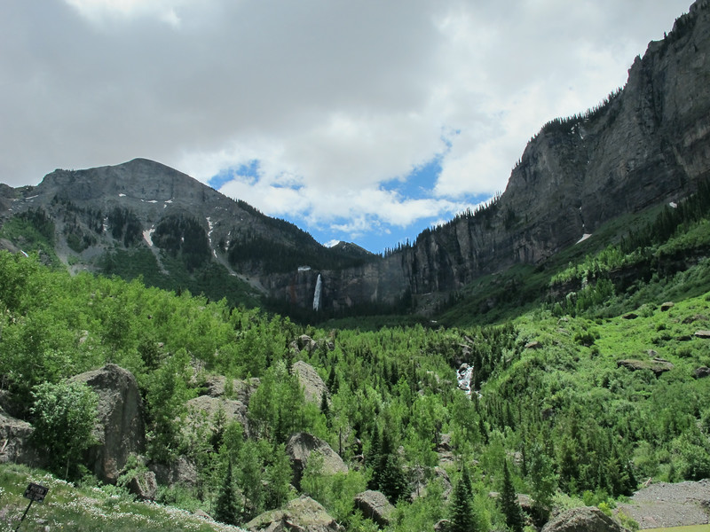 North end of Telluride; view of the Bridal Veil waterfall.