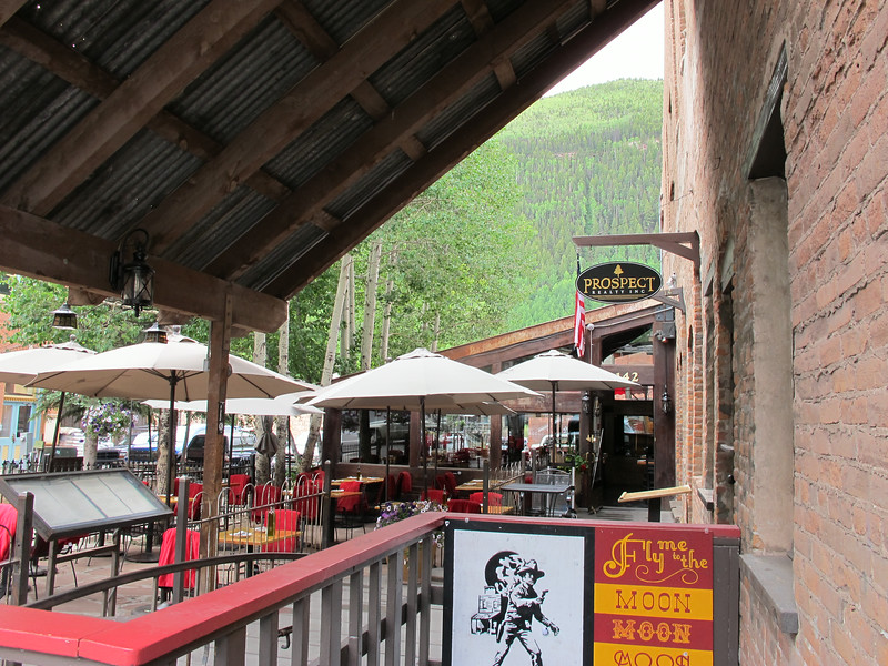 Downtown Telluride restaurant outdoor patio.