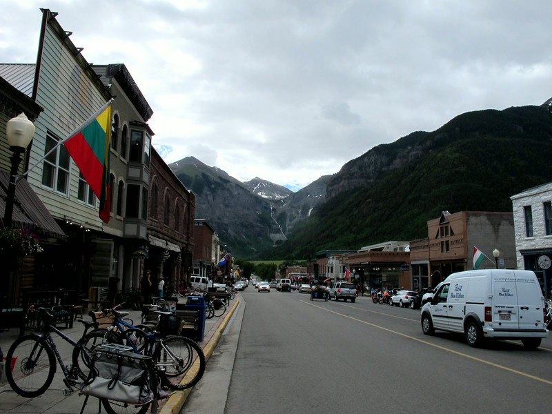 Downtown Telluride. Lots of shops and restaurants. Parking for vendors is in the center lane.