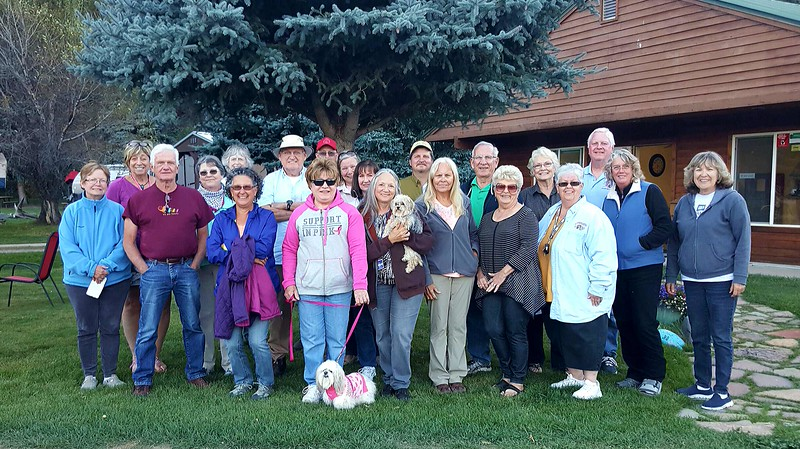 L to R: Teresa Stremel, Suzanne DeMuth, Ernie OToole, Holly Gardner, Kim Kollar, Denise Foss, Norm Miller, Diane Mason, Jim Prentice, Wendy Busk, Nancy Harlow, Diane Haddock, Corby Baxter, Kathi Jennings, Gil Merkle, Patricia Baxter, Ford Mays, Marie Taylor and Debbie McDonald. Missing from the photo were:  Erlene Roberts Irwin, Brenda Simmons, Jeff Lardner, and Konrad Szelock and Lynn Szelock of Little House Customs Arizona.
