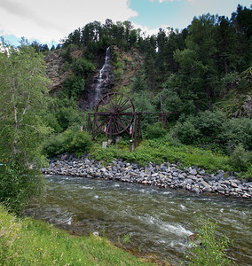 Waterfall and water wheel near Georgetown, CO.