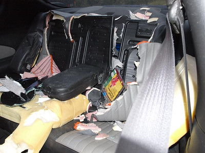 What is left of the Monte Carlo's back seat.