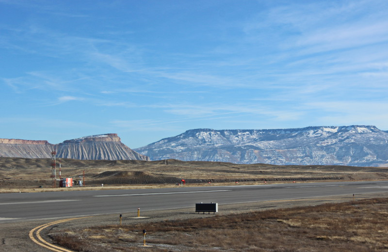 View of the Book Cliffs, Mount Garfield, and the Grand Mesa