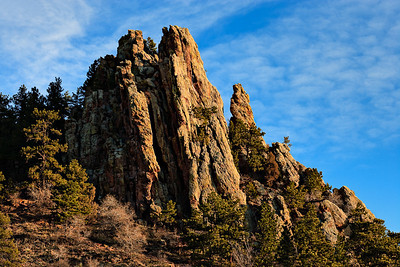 Morning light on the Flatirons in Sunshine Canyon Fountain Formation sandstone, Pennsylvanian Mt Sanitas trail, Boulder, CO
