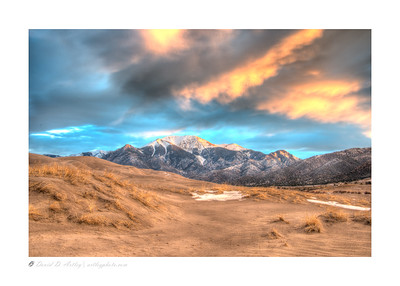 Winter sunrise light on Sangre de Cristo Mountains, Great Sand Dunes National Park, CO