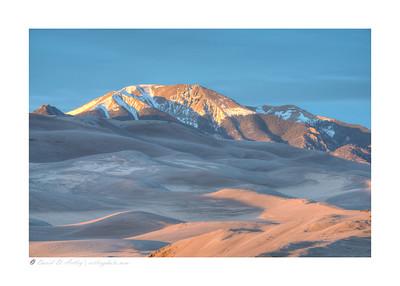 Sunset light on Sangre de Cristo Mountains, Great Sand Dunes National Park, CO