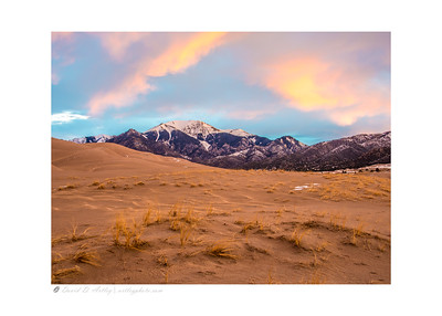 Sunrise light on Sangre de Cristo Mountains, Great Sand Dunes National Park, CO