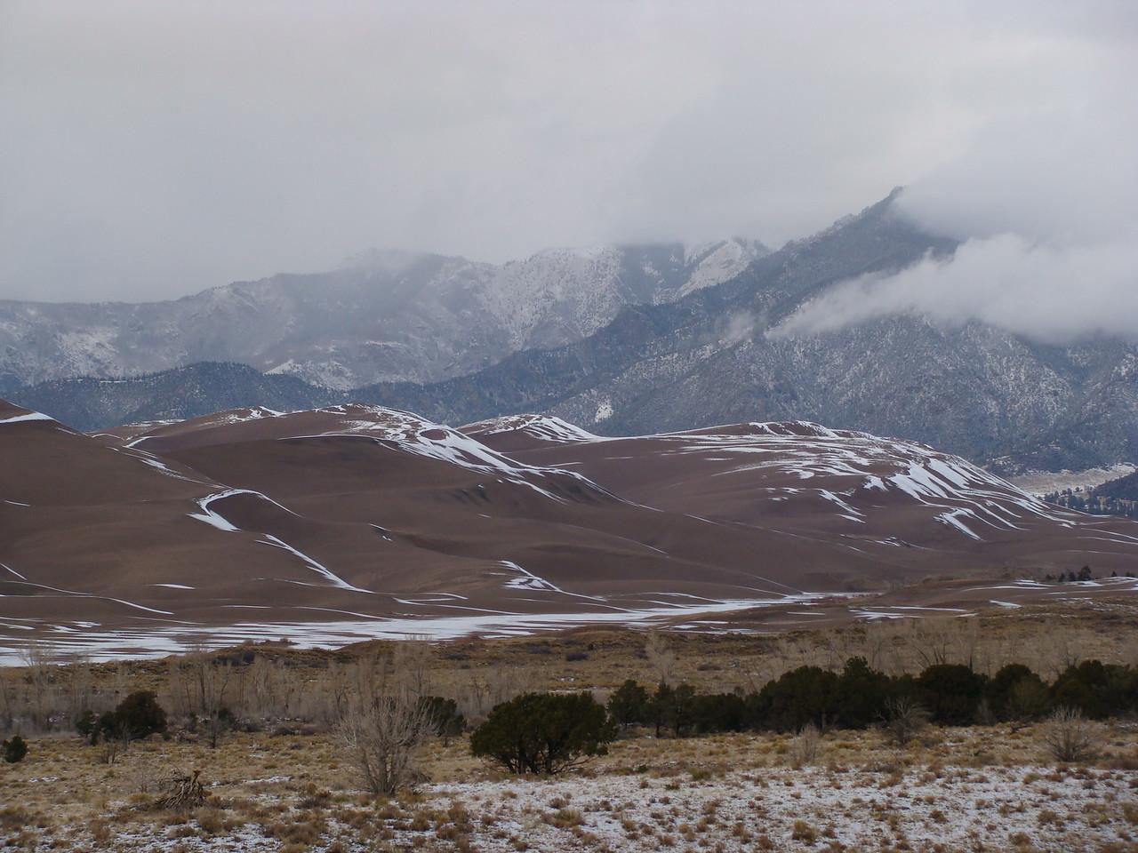 Cloudy Sangre de Cristo Mountains and Sand Dunes