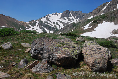 Just right of center is an unnamed peak (13,294 ft.)on the Continental Divide, known in climbing circles as The Citadel