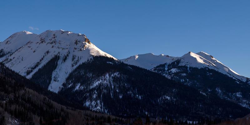 Last Light on Winter Peaks in Ouray