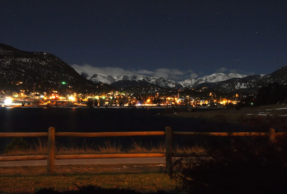 Downtown Estes Park at night.  Photo taken from the Lakeshore Lodge next to Estes Lake.  October 31st, 2009.   Approximately 10PM on Halloween night.