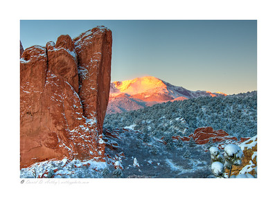 Sunrise on Pikes Peak from Garden of the Gods, Colorado Springs, CO
