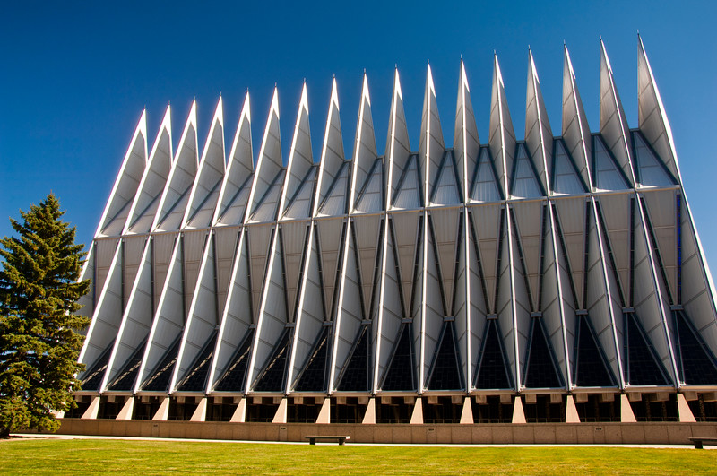 usa; colorado; colorado springs; air force academy; architecture; churches; cathedral; plants; trees; pine tree