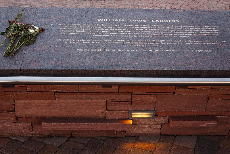 "Memorial plaque for William ""Dave"" Sanders, Columbine Memorial"