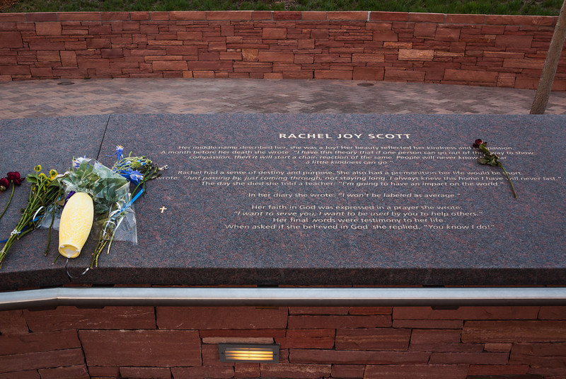 Memorial plaque for Rachel Joy Scott, Columbine Memorial