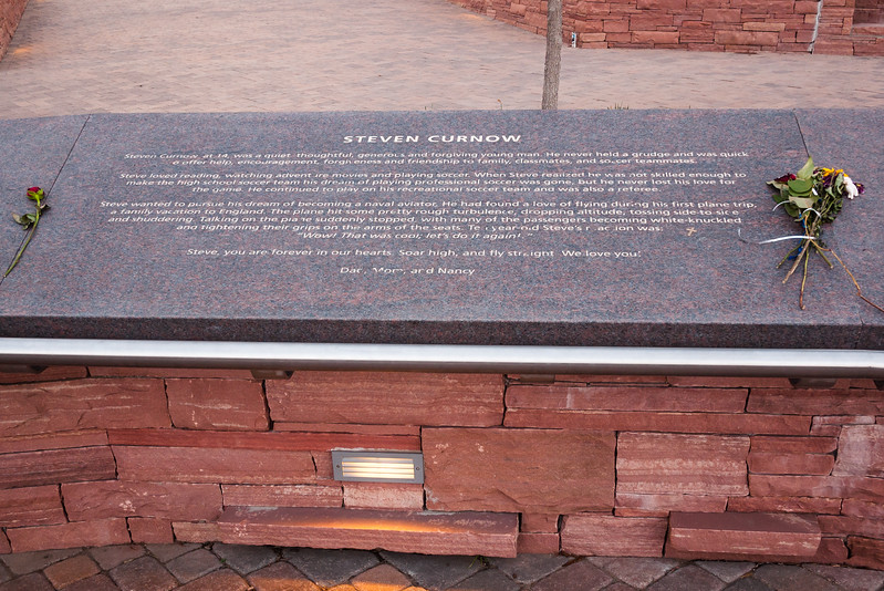 Memorial plaque for Steven Curnow, Columbine Memorial