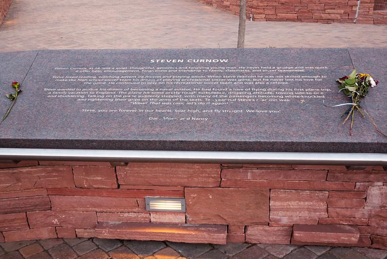 Memorial plaque for Steven Curnow, Columbine Memorial