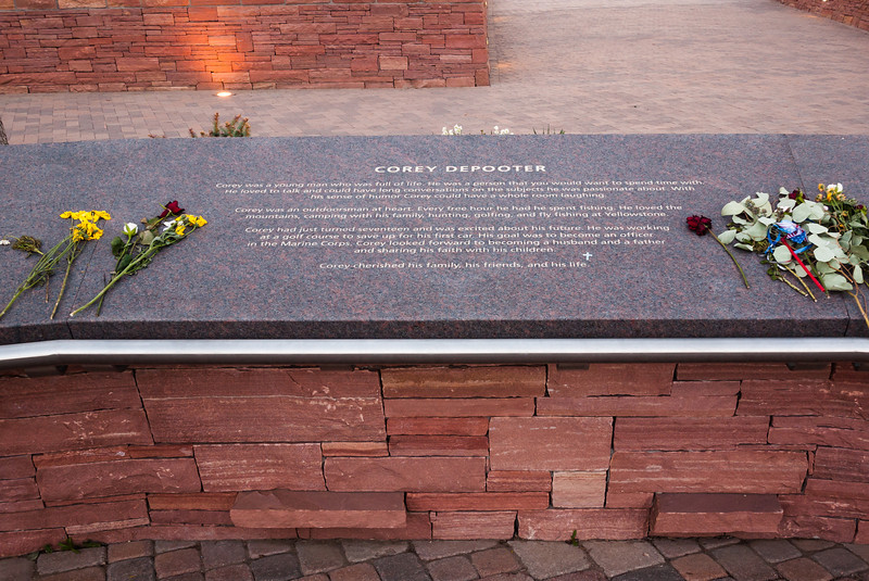 Memorial plaque for Corey Depooter, Columbine Memorial