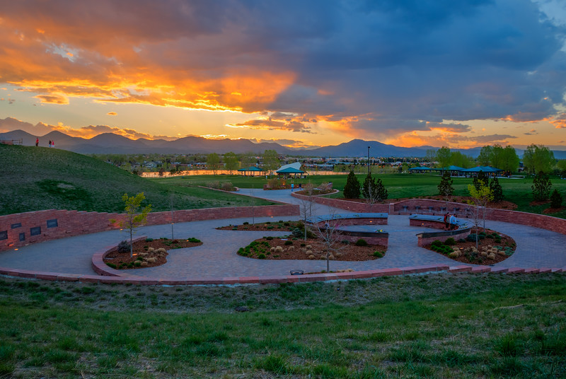 Columbine Memorial, looking west, Rebel Hill at the left