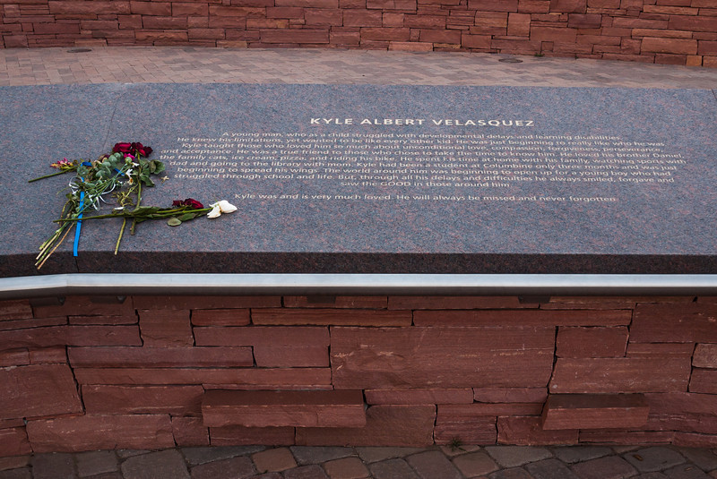 Memorial plaque for Kyle Albert Velasquez, Columbine Memorial