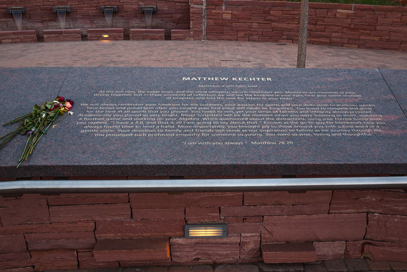 Memorial plaque for Matthew Kechter, Columbine Memorial