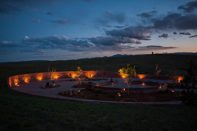 Columbine Memorial after sunset