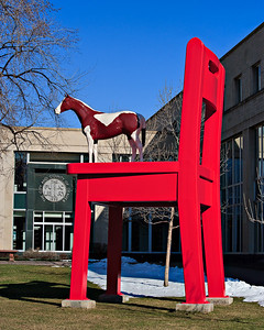 Red Chair and Pinto Pony, Donald Lipski, 1992 The 21 ft. tall sculpture in front of the children's library was meant to reall a time in life when even everyday objects seem monumental.