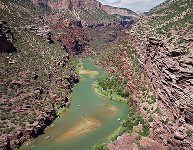 Lodore Canyon Rafts - Limestone Camp Overlook 3 vertical image stitch