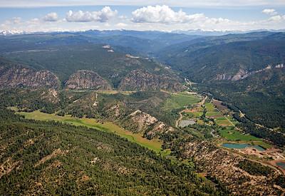 Aerial view of Pictured Cliffs & Mesaverde outcrop View north along Pargin River, Northeastern San Juan Basin margin